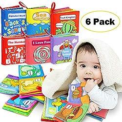 Livres d'éveil, Livres de jouets de bébé Le Livre des Découvertes Livre en Tissu Jouet Educatif Livre d'éveil Sensitive Book Cadeau Anniversaire Fête Nouvel An pour Bambin Bébé 3 à 18 Mois 6 Pièces an