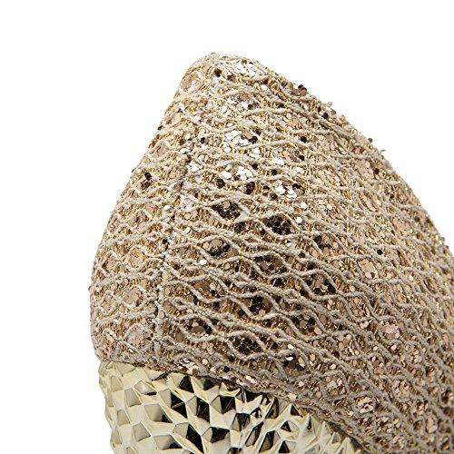 AgooLar Femme Matière Mélangee Rond Stylet Tire Couleur Unie Chaussures Légeres Doré