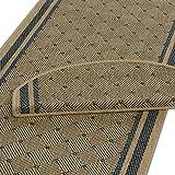 Teppich Läufer beige-blau mit rautenförmigem Muster | Qualitätsprodukt aus Deutschland | kombinierbar mit Stufenmatten | 3 Breiten und 18 Längen (67 x 150cm)