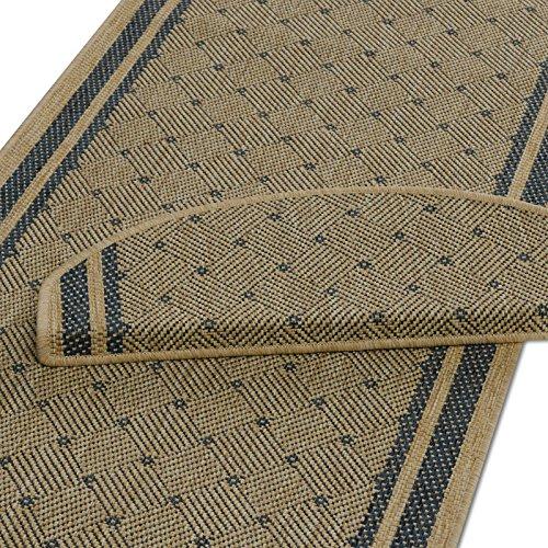 Teppich Läufer beige-blau mit rautenförmigem Muster   Qualitätsprodukt aus Deutschland  ...