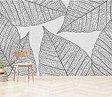 HONGYUANZHANG Nordische Minimalistische Blätter Tapete Des Foto-3D Künstlerische Landschafts-Fernsehhintergrund-Tapete,92Inch (H) X 124Inch (W)