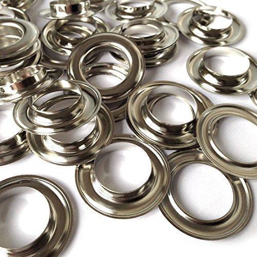 Tüllen 20MM Ösen und Unterlegscheiben Rost Beweis für Stoff Vorhänge Leder Plane Arts & Craft von trimmen Shop®, Metall, Silber, 50 Stück -