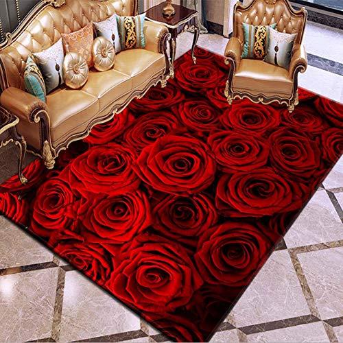 Blumen-teppich-designs (Loadfckcer 3D Dreidimensional Blume Muster Design Teppich Für Wohnzimmer Schlafzimmer Flur Home Decor Polyester-Mischgewebe Carpet Pflegeleicht,B,100x150cm)