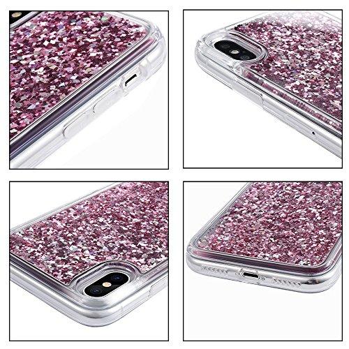 Coque iPhone X, Wuloo iPhone X Glitter Étui Protecteur TPU Bumper Cover Flowing Liquide Flottant Luxe Bling Case Mode 3D Créatif Coque Shiny Glitter Étincelle Étui Housse pour Apple iPhone X / 10 (cla clair-rose gold
