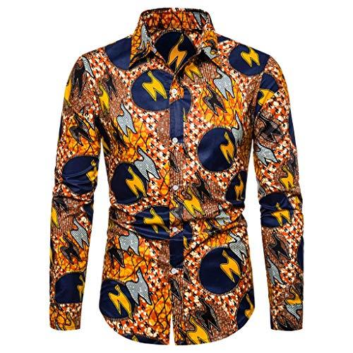 Notdark Herren Hemd Langarm Leisure Casual Basic Bluse Top die Revers Regular Fit T Shirts Floral Gedruckt Männer Slim Fit Hemden(XL,Mehrfarbig) -