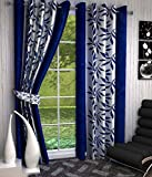#10: Galaxy Home Decor Abstract Eyelet Polyester Door Curtains for Door 7 Feet, Set of 2, Blue