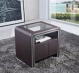 i-flair® - Nachttisch, Nachtkonsole aus hochwertigem Kunstleder - S85 Braun