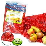 Imballaggio sacchi 25 kg 55 x 85 cm, Retina Per patate con nastro e passamano (10 pezzi)