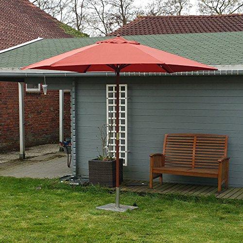 Land Mittel-wandhalterung (Land-Haus-Shop® Sonnenschirm 3m, Landhausschirm 3 Meter, Marktschirm 300cm Hartholz, Schirm Terracotta, rot)
