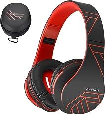 PowerLocus Bluetooth Over-Ear Kopfhörer, Kabellos Stereo Faltbare Kopfhörer Kabellose und Kabel-Kopfhörer mit Integriertem Mikrofon, Micro SD/TF, FM für Handys/iPad/Laptops & PC (Schwarz/Rot)