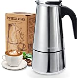 Godmorn Intenca Fornuis Italiaanse Espresso Maker, Roestvrijstalen Mokkapot Koffiekoker Caffettiera, 6 kopjes (300 ml), Gesch