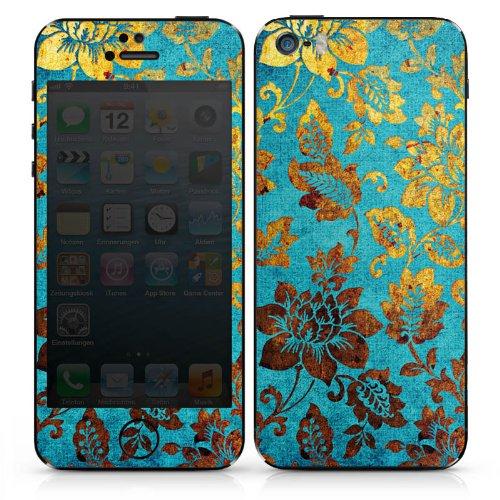 Apple iPhone 4 Case Skin Sticker aus Vinyl-Folie Aufkleber Blumen Muster Gold DesignSkins® glänzend