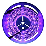 InDmird UV Blacklights LED Light Strip 5M/16.4ft 3528SMD Waterproof 300LED with 12V 2A Power Supply (Purple)