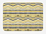 Yellow and Black Bath Mat, Primitive Design with Zig Zag Lines Stripes Ethnic Chevron, Plush Bathroom Decor Mat with Non Slip Backing, 23.6 W X 15.7 W Inches, Yellow Black and White