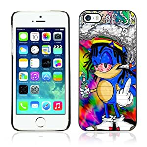 Pour Apple iPhone 5 / 5S ( Funny 420 Rasta Sonic ) Coque Housse Etui Case Rigide Hard Noir