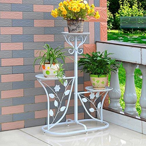 plantes en pot à l'extérieur Porte-grille en fer, 3 étagères étagées Stand Bonsai Maison Jardin Décor de patio étagères noires ( Couleur : Blanc , taille : 60*29*95CM )