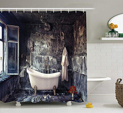 en Duschvorhang Antikes Dekor Badewanne im Alten Zimmer Badezimmer frischen Blumenstrauß in der Vase viktorianischen Retro-Stil Stoff Badezimmer Duschvorhang Set lang weiß grau ()