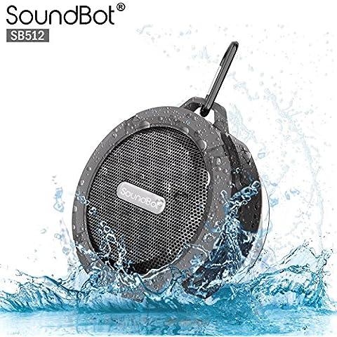 soundbot® sb512HD Premium resistente al agua y a los golpes Hi-Fi Bluetooth Wireless Ducha Altavoz, Altavoz Portátil de Manos Libres W/salida, micrófono incorporado, 6horas de reproducción, intuitivo botones de control, microUSB