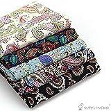 RayLineDo® 5X Verschiedene Muster Paisley Style 100% Baumwolle Popelin Stoff Fat Quarter Bundle 46 x 56cm (Appox 18