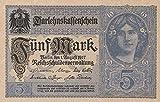 Deutsches Reich Rosenbg: 54b, 8stellige Kontrollnummer, Vs. graublau leicht gebraucht (II) 1917 5 Mark (Banknoten für Sammler)