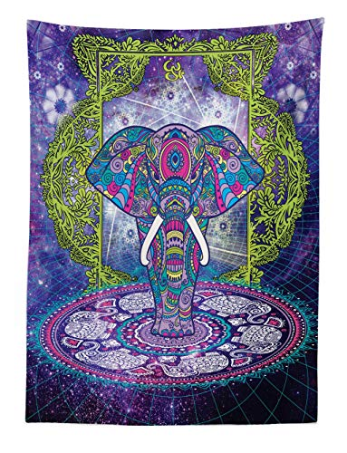 ABAKUHAUS Étnico Tapiz de Pared y Cubrecama Suave, Figura Sagrada Elefante de Pie Mandala sobre Espacio Exterior Cosmos Diseño Hippie, Colores Firmes y Durables, 110 x 150 cm, Púrpura