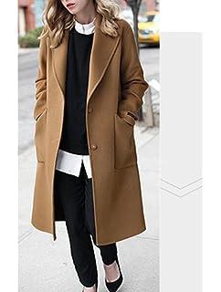 9112e5da4e52 Vogstyle Femme Manteau Long Chaud Mode en Mélange de Laine Cashmere Parka  Casuel Trench Coat Boutonnage