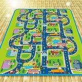 Alfombra de juego para niños, 0,5 cm de espesor. Diseño de ciudad con tráfico, 200 x 160 cm