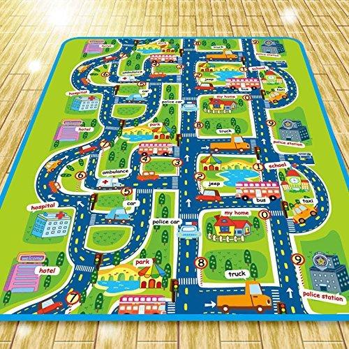 Alfombra infantil de 0,5cm, imagen de ciudad y tráfico, alfombra en relieve...
