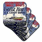 BLN Vintage WPA poster Collection–US Coast Guard Betreiber von Kleine Boote gewinnen jetzt Recruiting Poster–Untersetzer, set-of-8-Soft