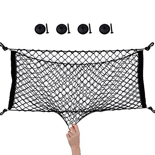 90*40cm Auto Netz Gepäcknetz Kofferraumnetz Auto Organizer Hintere Lagerung mit 4 Haken Dehnbar für Kfz Geländewagen Van usw