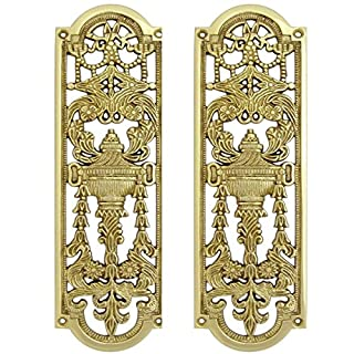 2x Solid Brass Finger Push Plate Quality Ornate Antique Design Style Door Handle