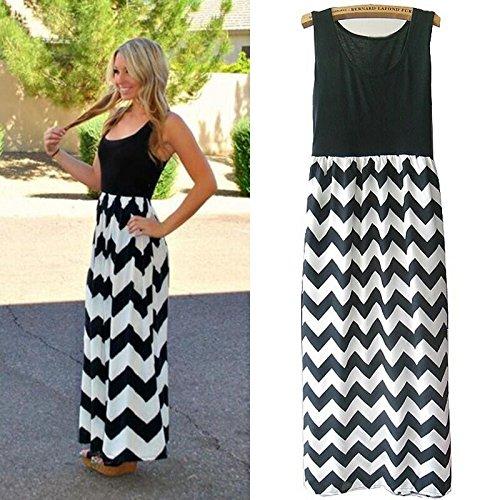 Price comparison product image oasislove Women Summer Beach Boho Maxi Dress 2018 Brand Striped Print Long Dresses Feminine Plus Size-in Dresses,  DressDress10 Rose Black,  M