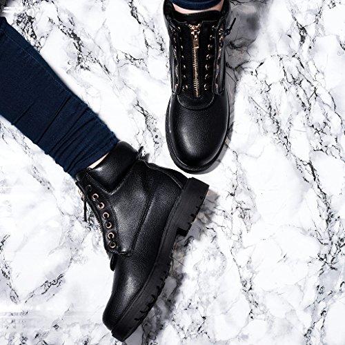 SPYLOVEBUY CYRA Femmes Tirette Plates Bottines Chaussures Noir - Similicuir