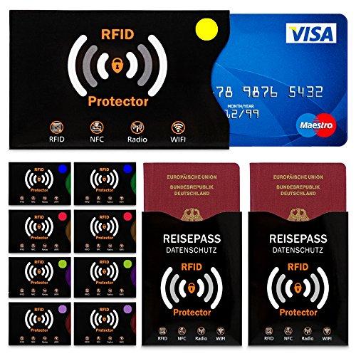 TRAVANDO ® RFID & NFC Schutzhülle (10+2 Stück) für Bankkarte, Ausweise, Kreditkarte, EC-Karte, Reisepass - Kreditkartenhülle / Kartenschutzhülle mit RFID Blocker + GRATIS E-Book + 10 Farb-Sticker Test