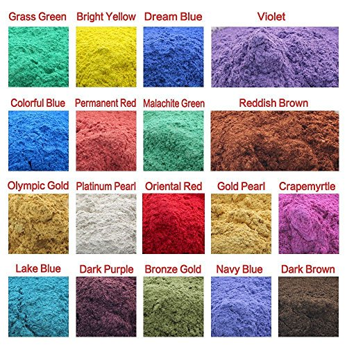 180g Cosmetic Grade Natural Mica Powder Pigment Soap Candle Colorant Dye (18 Colors, 10g each)