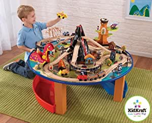 Childrens KidKraft 17978A Dinosaur Wooden Train Set And Play Table Compatible With Brio & Thomas And Friends