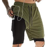 heekpek Men's 2 in 1 Running Shorts Running Sport Shorts Workout Training Gym Shorts with Inner and Zipper Pockets…