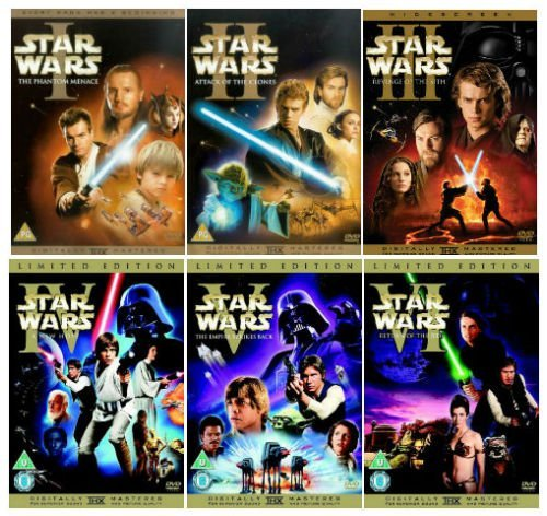 The Complete Star Wars 1 - 6 DVD Movie Collection: Episode 1 - Phantom Menace / Episode 2 - Attack Of the Clones / Episode 3 -