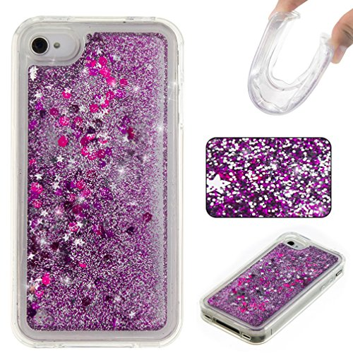 coque iphone 4 paillette liquide flottant