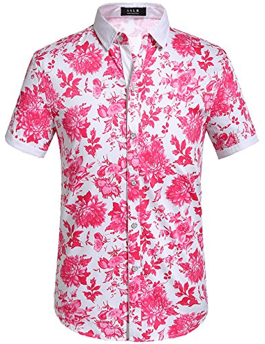 SSLR Herren Blumen Baumwolle Freizeit Regular Fit Button Down Kurzarm Hemd (X-Large, Fuchsie)