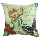 Luxbon Schmetterling Blumen Kissenbezug Lendenkissen Wurfkissenbezug Pillowcase Cafe Haus Zimmer Auto Deko 45 x 45 cm