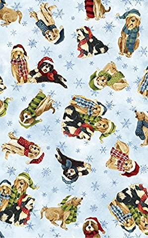 CHRISTMAS FABRIC - 0.5 Metre - FAB014 - CHRISTMAS ICE DOGS - Christmas Fabric by Fabriquilt - 100%