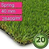 Kunstrasen Rasenteppich Spring für Garten - Florhöhe 40 mm - Gewicht ca. 2840 g/m² - UV-Garantie 20 Jahre (DIN 53387) - 4,00 m x 3,50 m | Rollrasen | Kunststoffrasen