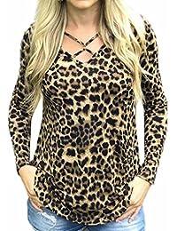 96ad889c8ee6b4 HWTOP T-Shirt Damen Oberteil Hemd Pullover Sweatshirt Tops Shirt  Langarmshirt Leopardenprint Frauen V-Ausschnitt Lose Blumenbluse…