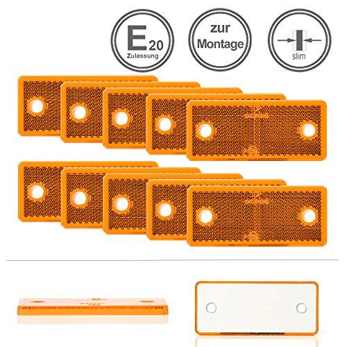 Preisvergleich Produktbild LED-MARTIN® 10er Sparset - Rückstrahler - Reflektor R8 - gelb/orange - mit Bohrung zur Festmontage - zugelassen für den Straßenverkehr (E-Zeichen eingeprägt) - LKW - Auflieger - Anhänger