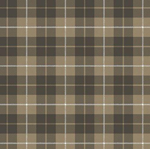 Carta da parati scozzese con righe verticali e orizzontali colore tortora e nero 5649 Friends & Coffee