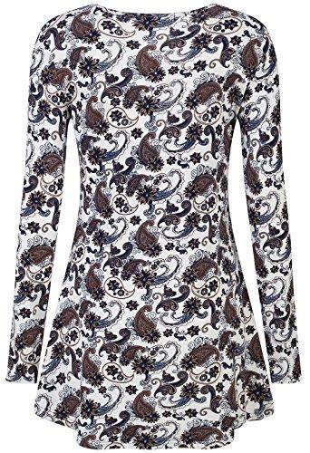 KorMei donne casual, colletto, orlo elastico Fit svasato manica lunga tunica tops camicetta White#3