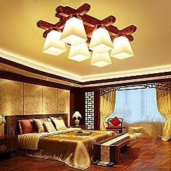 Lámpara de techo FUFU Iluminación de Techo Moderno Dormitorio Principal Madera Maciza American Escandinavo Iluminación (Tamaño : 6)