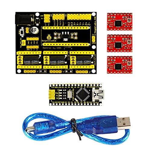 3D Drucker Gravur Expansion Board Kit für Arduino CNC Shield V4 Gravur Maschine Expansion Board + Nano 3.0 + A4988 Driver Board mit USB Kabel für Arduino