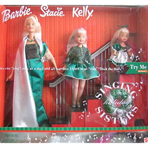 Holiday Singing Sisters Barbie Stacie Kelly Dolls Sing Deck The Halls (2000) by Barbie